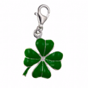 Sterling Silver Clip-on Green enameled Four Leaf Clover Charm